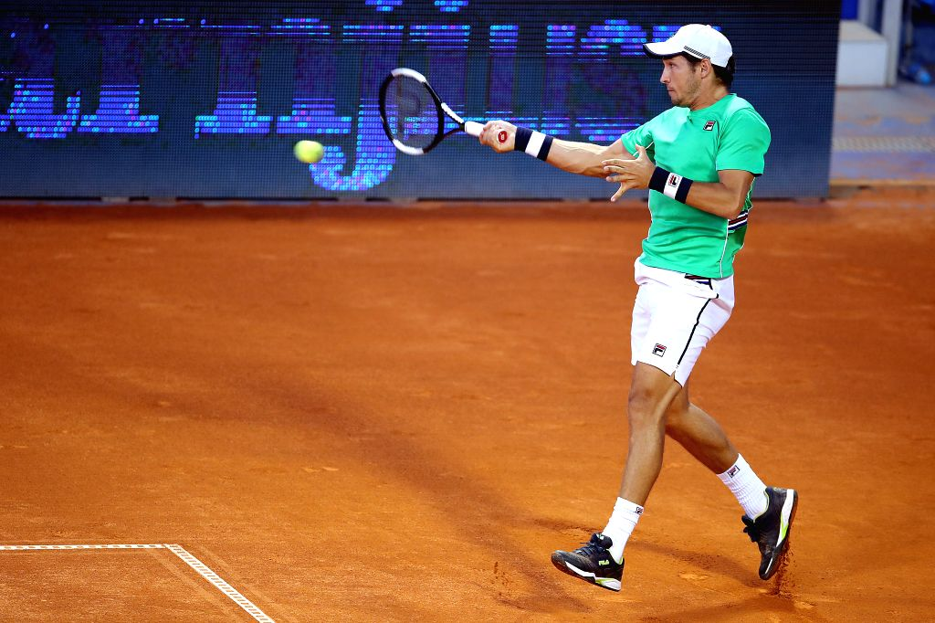 UMAG, July 20, 2019 - Dusan Lajovic of Serbia returns the shot to Aljaz Bedene of Slovenia during the quaterfinals at 2019 ATP Croatia Open in Umag, Croatia, on July 19, 2019. Lajovic won 2-1.