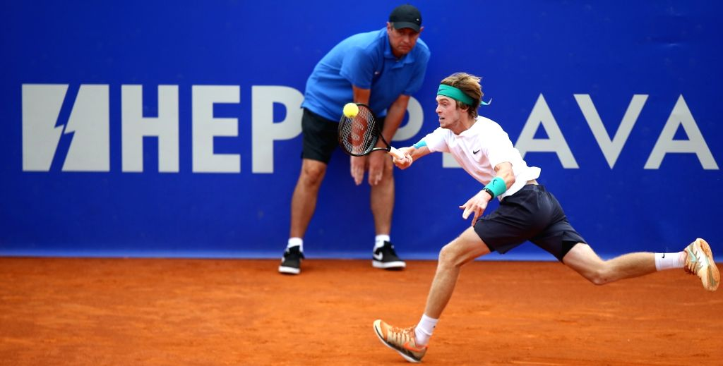 UMAG, July 21, 2018 - Andrey Rublev of Russia competes during the singles quarterfinal match against Robin Hasse of the Netherlands at 2018 ATP Croatia Open in Umag, Croatia, on July 20, 2018. Robin ...