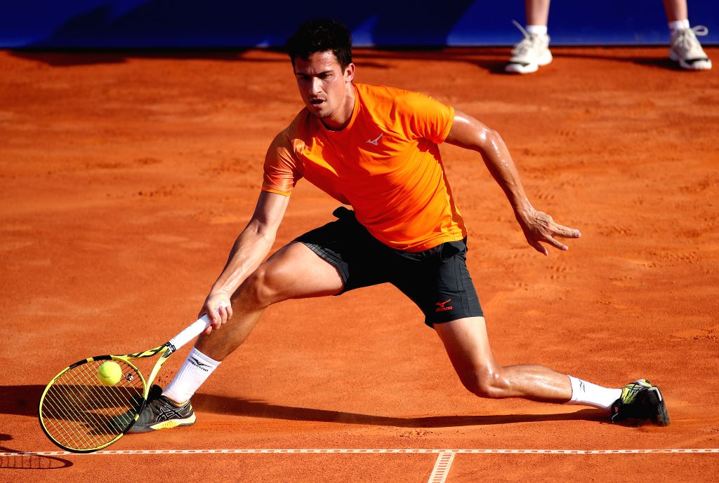 UMAG, July 21, 2019 - Attila Balazs of Hungary returns the shot to Laslo Djere of Serbia during the semi-finals at 2019 ATP Croatia Open in Umag, Croatia, on July 20, 2019. Balazs won 2-0.