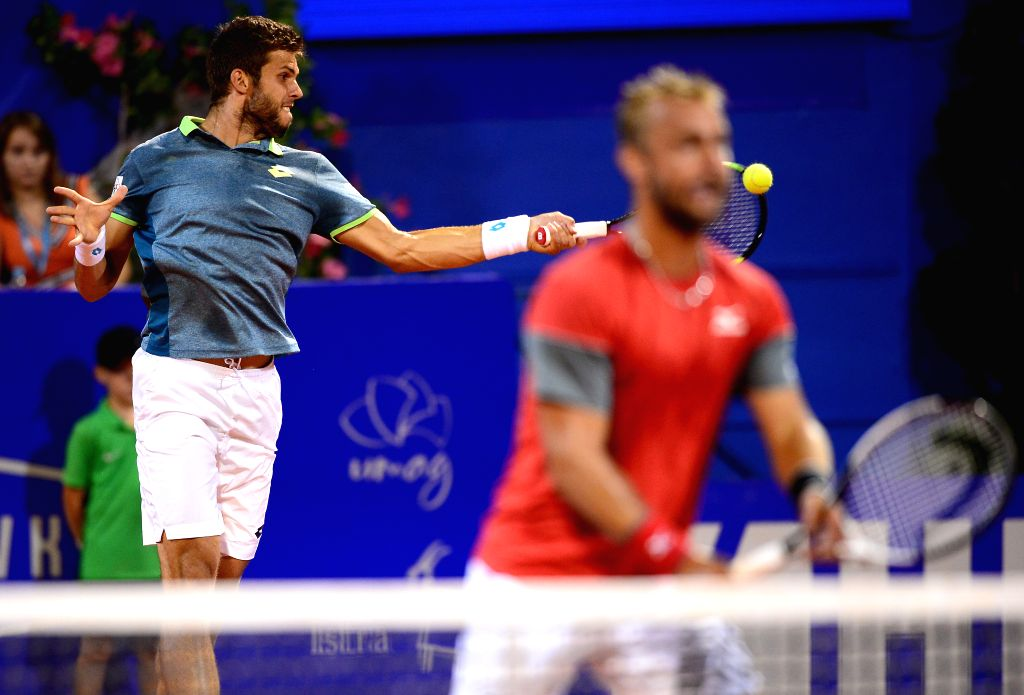 UMAG, July 22, 2018 - Jiri Vesely (L) and Roman Jebavy of the Czech Republic compete during the men's doubles final match against Robin Haase and Matwe Middelkoop of the Netherlands at 2018 ATP ...