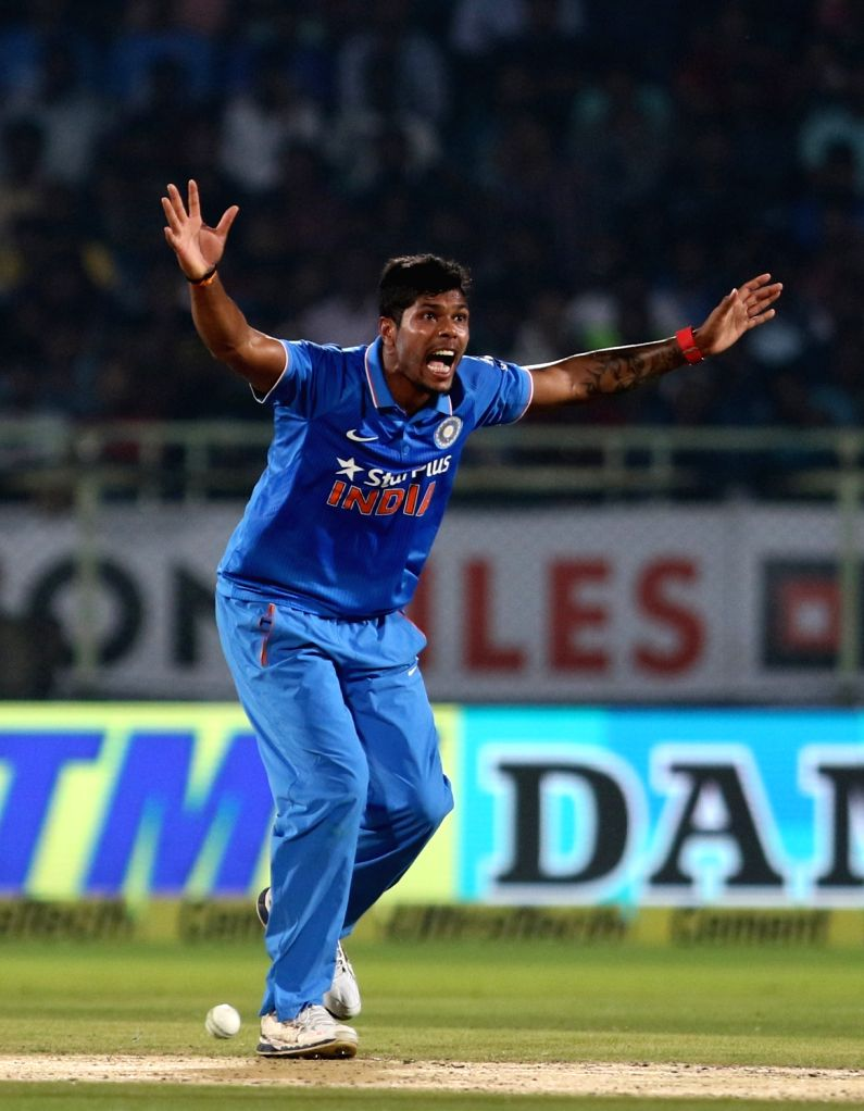 Umesh Yadav of India during the fifth ODI match between India and New Zealand at Dr. Y.S. Rajasekhara Reddy ACA-VDCA Cricket Stadium in Visakhapatnam on Oct 29, 2016. - Umesh Yadav