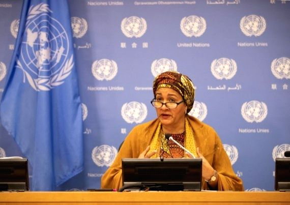 UN Deputy Secretary-General Amina Mohammed addresses a hybrid press briefing at the UN headquarters in New York, Sept. 28, 2020.