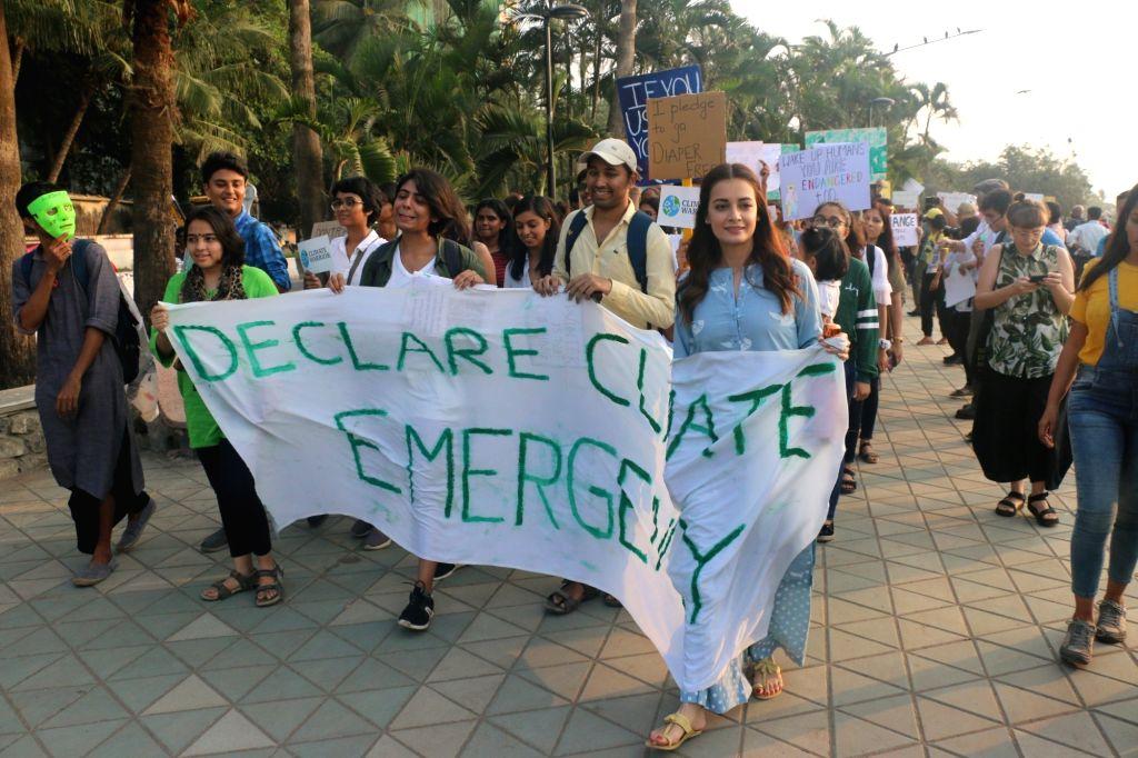 UN Environment Goodwill Ambassador Dia Mirza participates in Global Climate Strike protest at Bandra in Mumbai on Nov 29, 2019. - Dia Mirza