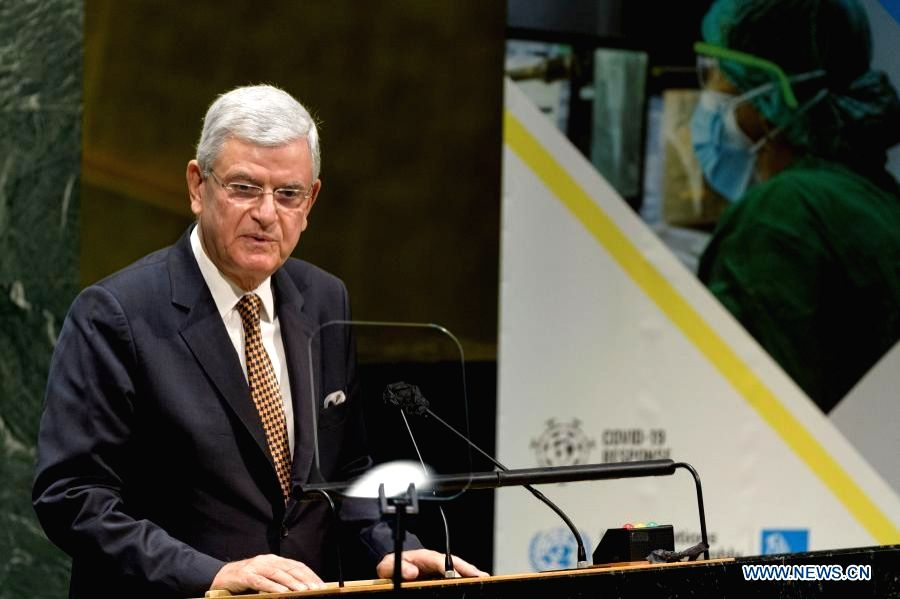 UN General Assembly President Volkan Bozkir opens the second and final day of the UN General Assembly's special session on COVID-19 at UN headquarters in New York, Dec. 4, 2020.