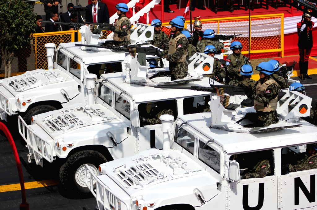 UN peacekeeping forces take part at the Civic-Military Parade to commemorate the 194th anniversary of Peru's Independence in Lima city, capital of Peru, on July 29, ...