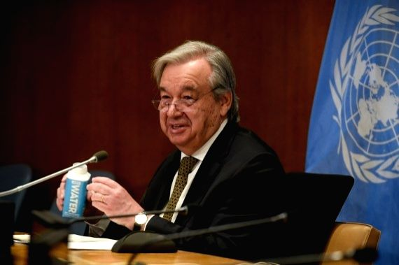 UN Secretary-General Antonio Guterres takes part in the high-level pledging conference for Yemen at the UN headquarters in New York, March 1, 2021. (Evan Schneider/UN Photo/Handout via Xinhua)