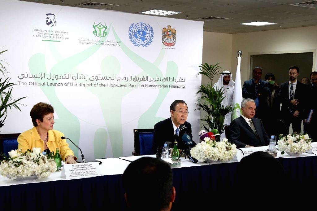 UN Secretary General Ban Ki-moon(C) speaks at a press conference in Dubai, United Arab Emirates, on Jan. 17, 2016. UN Secretary General Ban Ki-moon on Sunday urged ...