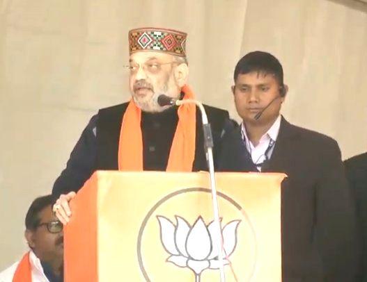 Una: BJP President Amit Shah addresses at a party meeting in Himachal Pradesh's Una district, on Jan 28, 2019. (Photo: IANS/BJP) - Amit Shah