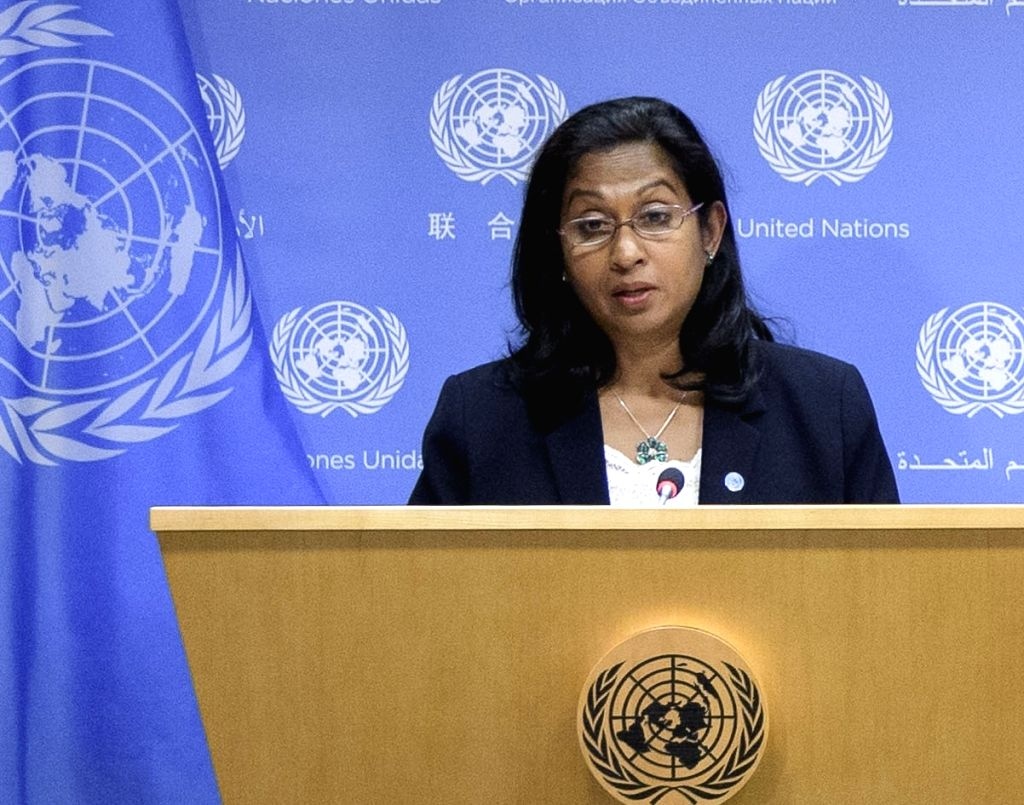 UNCTAD's Director of Division on Technology and Logistics, speaks to reporters on the Digital Economy Report released at the United Nations on Wednesday, Sept. 4, 2019.