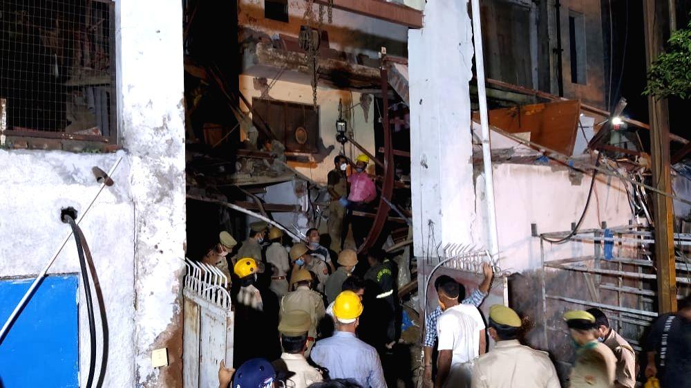 Under construction multi-storey building collapses, rescue team evacuates 4 people.