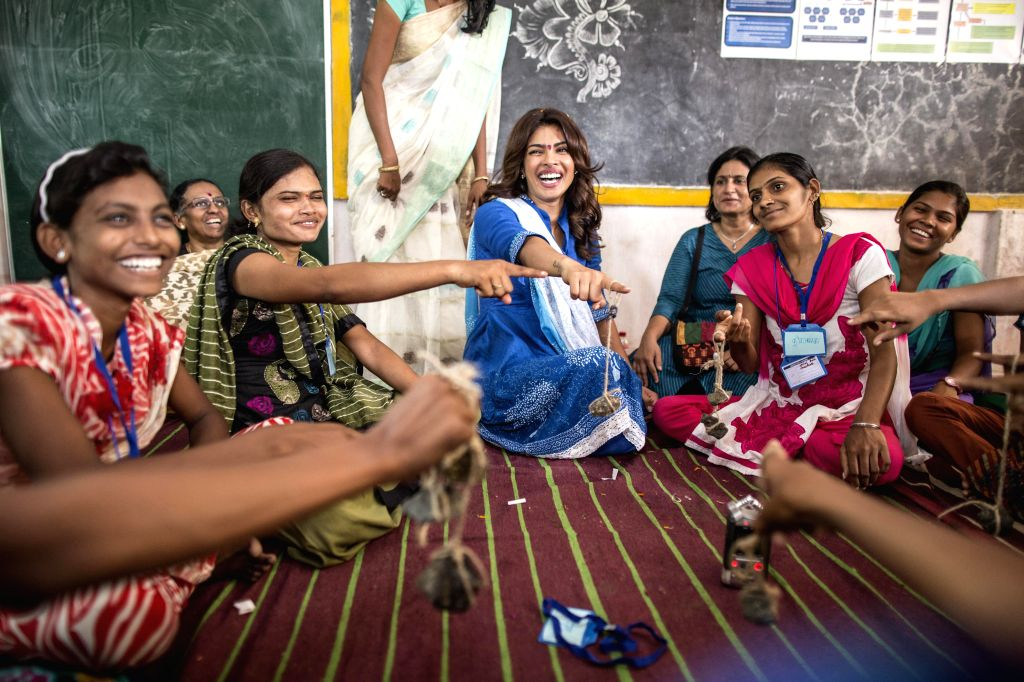 UNICEF  India  Ambassador actress Priyanka  Chopra with girls during a field visit to see implementation of Building  Young  Futures Programme at ground level, ahead of International Youth Day at ...