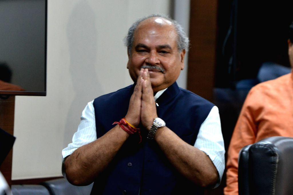 Union Agriculture and Farmers Welfare and Rural Development Minister Narendra Singh Tomar at a press conference in New Delhi on Aug 9, 2019. - Narendra Singh Tomar