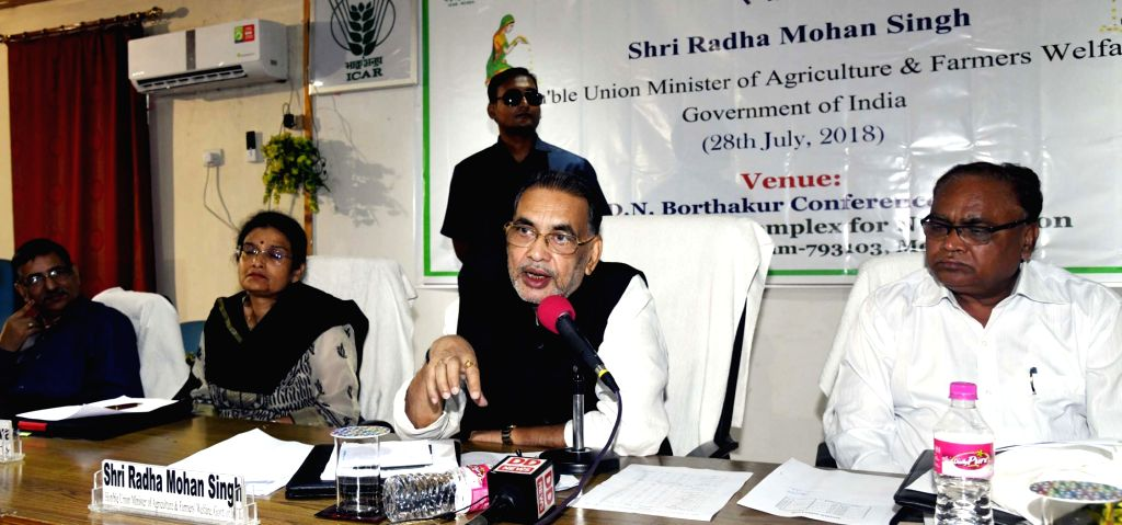 Union Agriculture and Farmers Welfare Minister Radha Mohan Singh interacts with the farmers and scientists, at the ICAR Research Complex for NEH Region in Barapani, Meghalaya on July 28, ... - Radha Mohan Singh