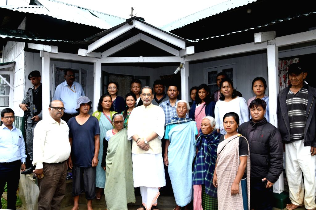 Union Agriculture and Farmers Welfare Minister Radha Mohan Singh with others, during his visit to Lawsohtun, Meghalaya, on July 29, 2018. - Radha Mohan Singh