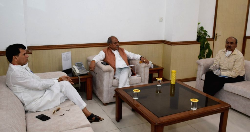 Union Agriculture Minister Narendra Singh Tomar holds a meeting on the strategy to combat swarm of locusts. - Narendra Singh Tomar