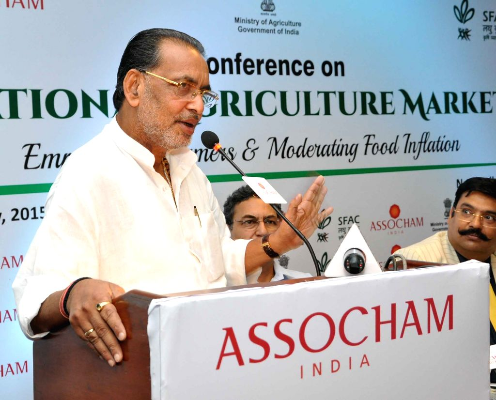 Union Agriculture Minister Radha Mohan Singh during a conference on National Agriculture Market in New Delhi on July 2, 2015.