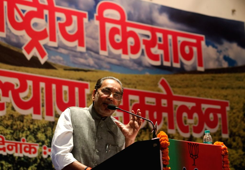 Union Agriculture Minister Radha Mohan Singh during a BJP programme in New Delhi on April 11, 2016. - Radha Mohan Singh