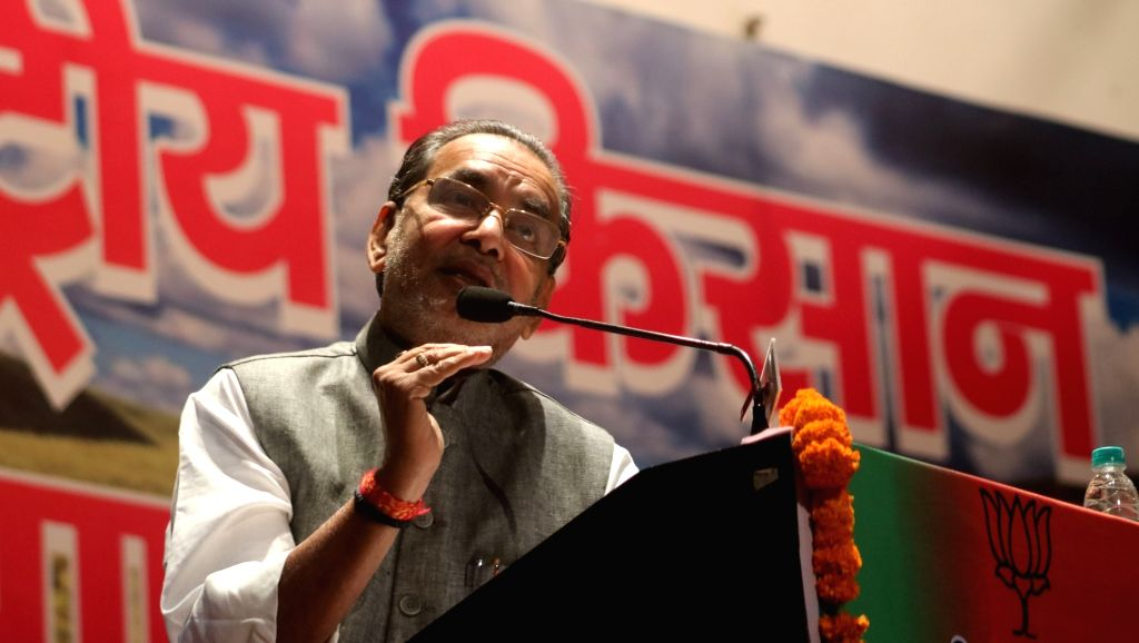 Union Agriculture Minister Radha Mohan Singh addresses during a BJP programme in New Delhi on April 11, 2016. - Radha Mohan Singh