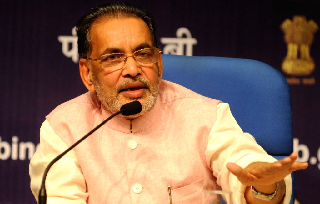 Union Agriculture Minister Radha Mohan Singh addresses a press conference in New Delhi on May 31, 2016. - Radha Mohan Singh