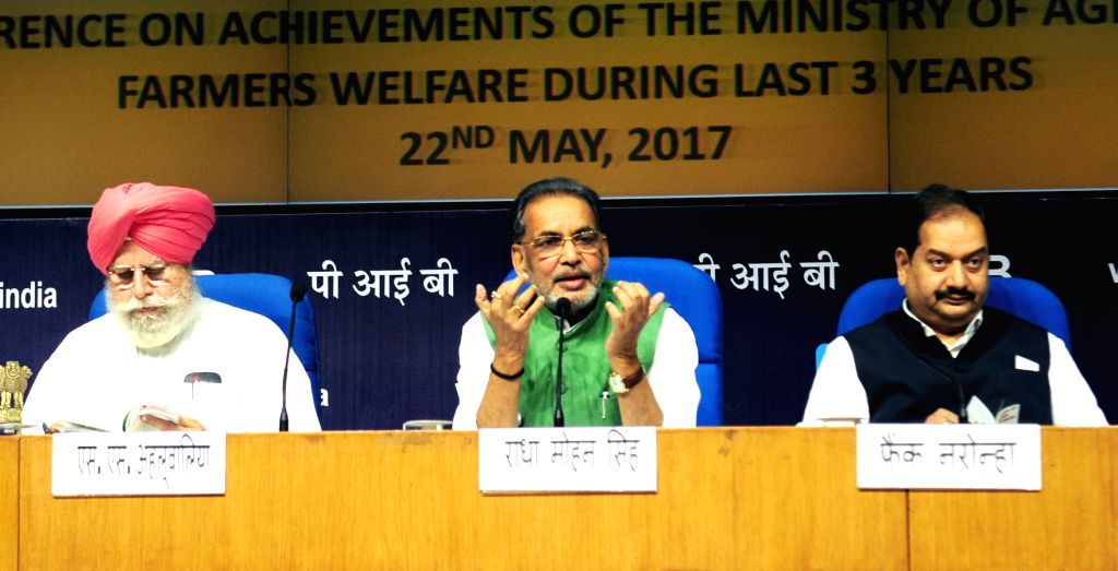 Union Agriculture Minister Radha Mohan Singh addresses a press conference on the achievements of his ministry during 3 years of NDA Government, in New Delhi on May 22, 2017. - Radha Mohan Singh