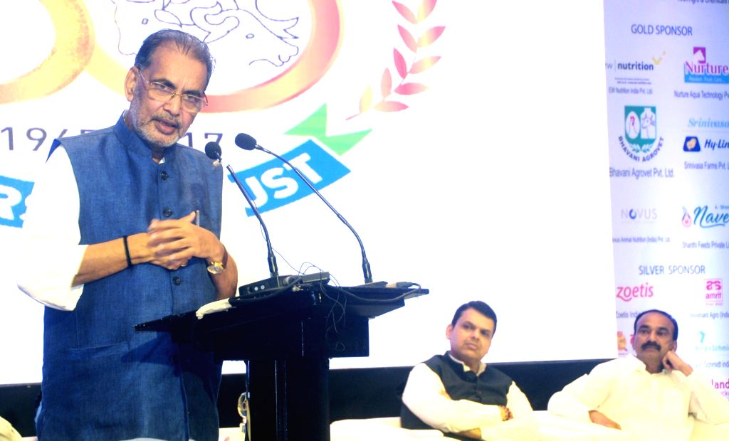 Union Agriculture Minister Radha Mohan Singh addresses at the Golden Jubilee Celebration of Compound Feed Manufactures Association (CLFMA) in Mumbai on Sept 15, 2017. Also seen Maharashtra ... - Radha Mohan Singh