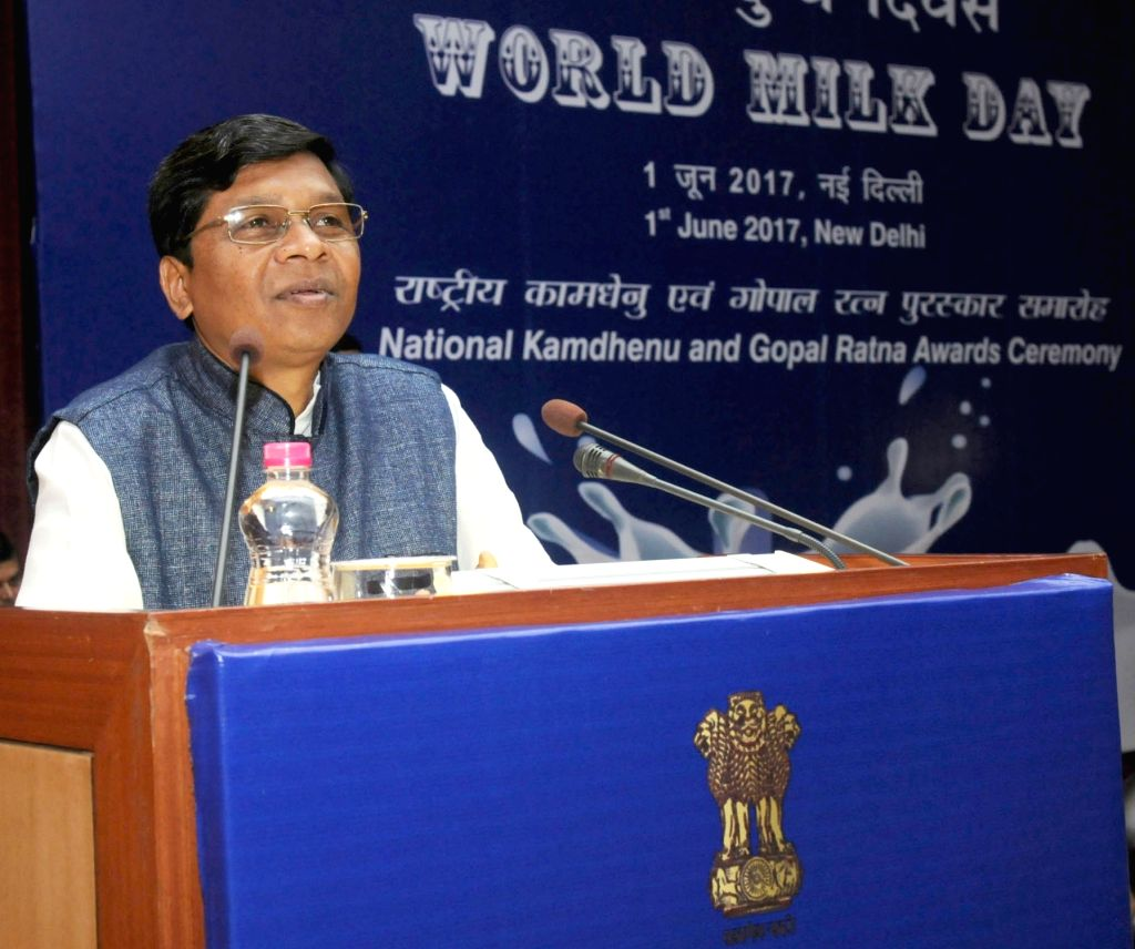 """Union Agriculture Sudarshan Bhagat addresses at the """"World Milk Day"""" celebration, organised by the Department of Animal Husbandry and Fisheries, in New Delhi on June 1, 2017."""