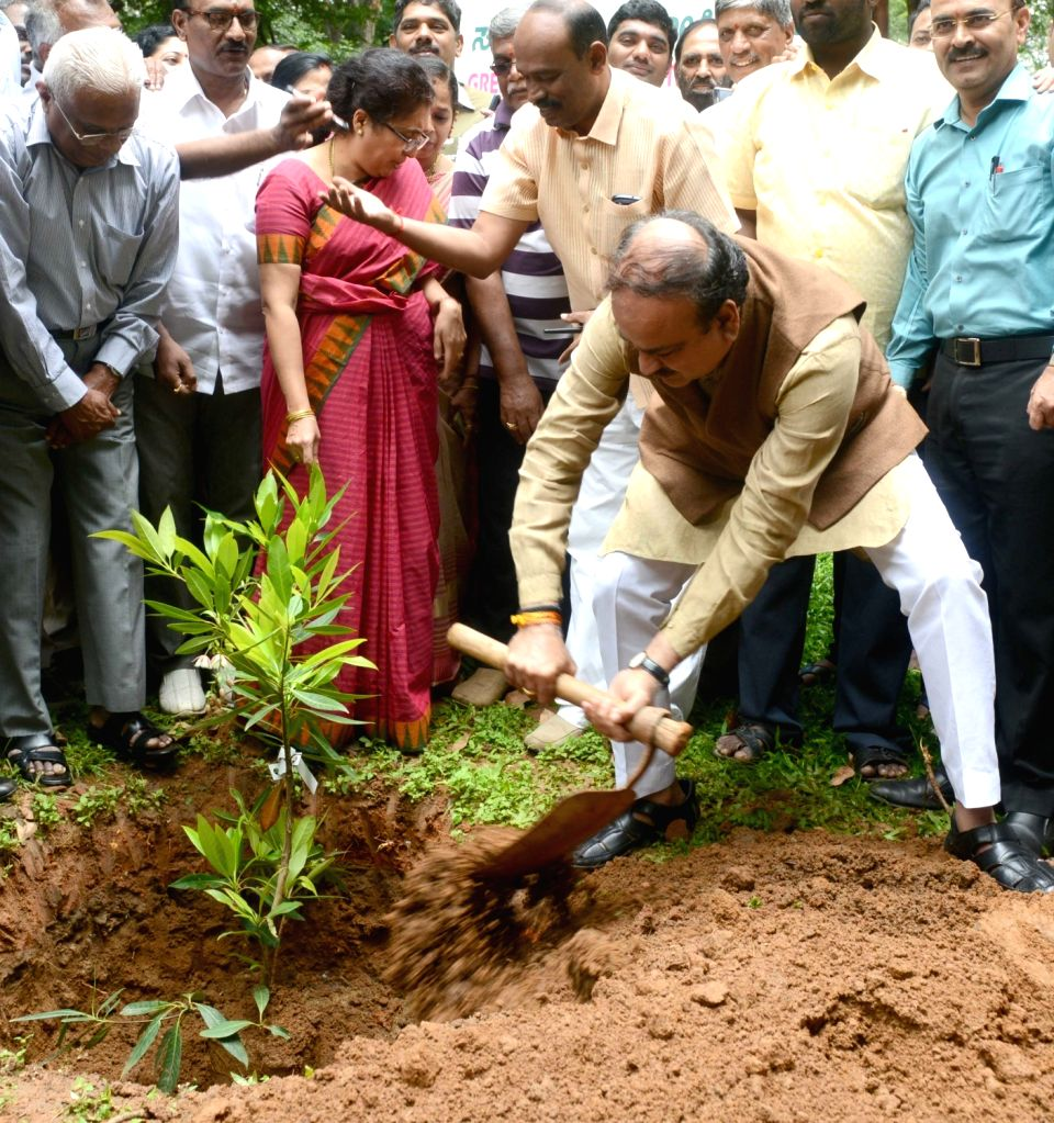Union Chemicals and Fertilizers Minister Ananth Kumar plants a sapling on Green Sunday at Lalbagh in Bengaluru, on Aug 14, 2016. - Ananth Kumar