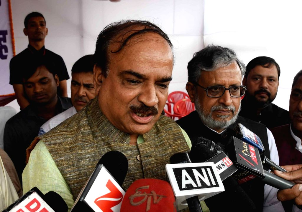 Union Chemicals and Fertilizers Minister Ananth Kumar talks to press in Patna, on Oct 11, 2017. - Ananth Kumar