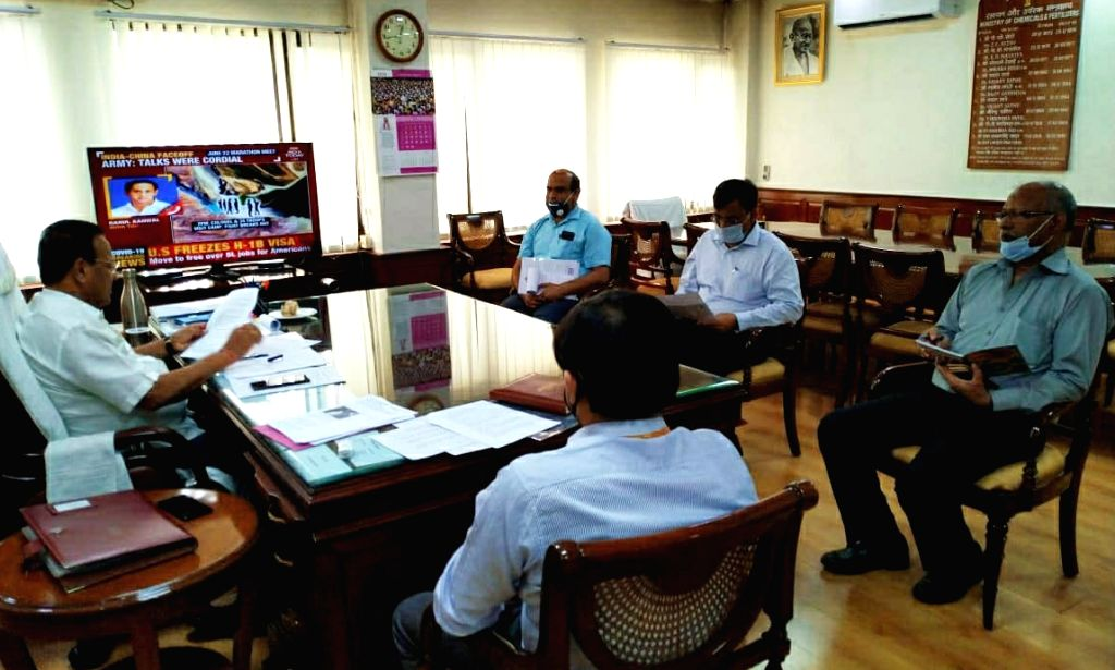 Union Chemicals and Fertilizers Minister D.V. Sadananda takes stock of the progress of Talcher Fertilizers Limited through video conferencing, in New Delhi on June 23, 2020. - D.