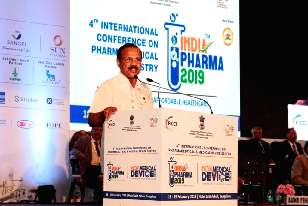 """Union Chemicals and Fertilizers Minister D.V. Sadananda Gowda addresses at the inauguration of the """"India Pharma and India Medical Device 2019"""", in Bengaluru, on Feb 18, 2019. - D."""