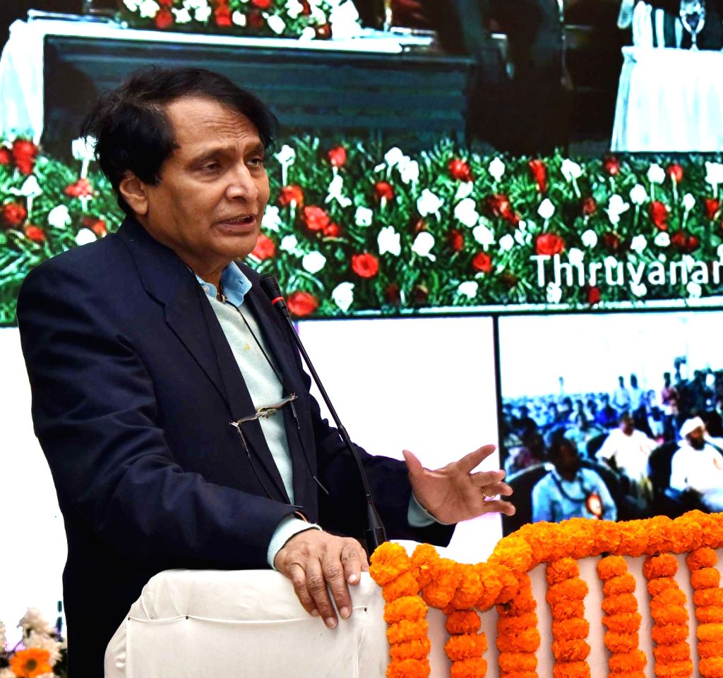 Union Civil Aviation Minister Suresh Prabhu addresses at the inauguration of aviation infrastructure development projects via video conference, in New Delhi, on Feb 22, 2019. - Suresh Prabhu