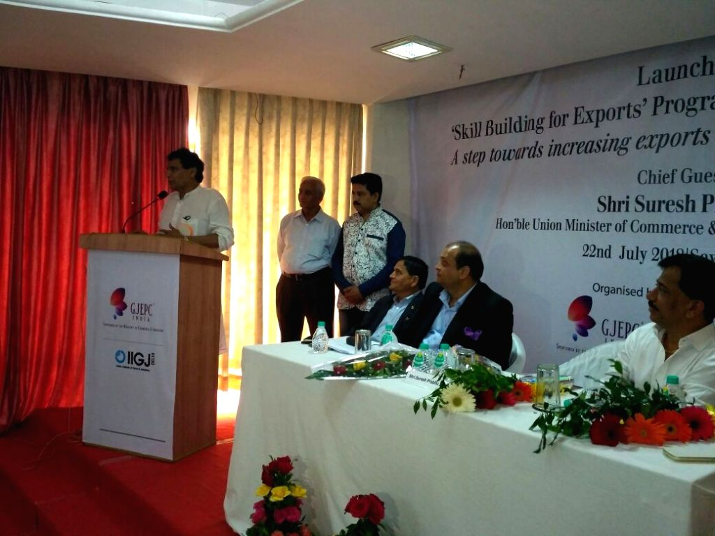Union Commerce and Industries Minister Suresh Prabhakar Prabhu addresses at the launch of skill building program for export promotion in Gems and Jewellery sector, in New Delhi, on 22 ... - Suresh Prabhakar Prabhu