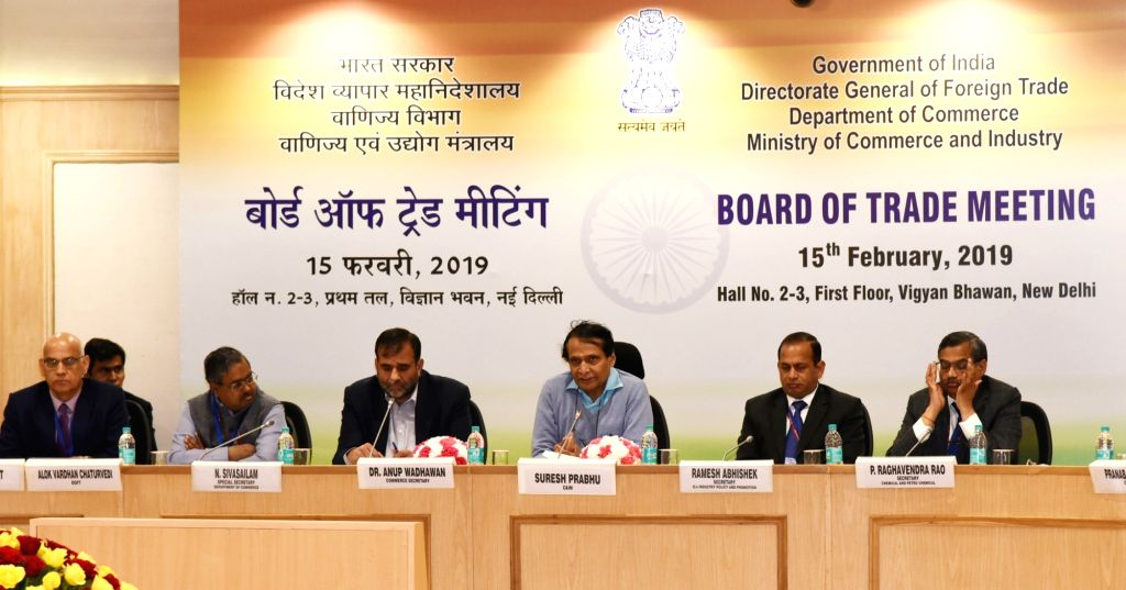 Union Commerce and Industry and Civil Aviation Minister Suresh Prabhu chairs the Board of Trade (BoT) Meeting in New Delhi, on Feb 15, 2019. - Suresh Prabhu