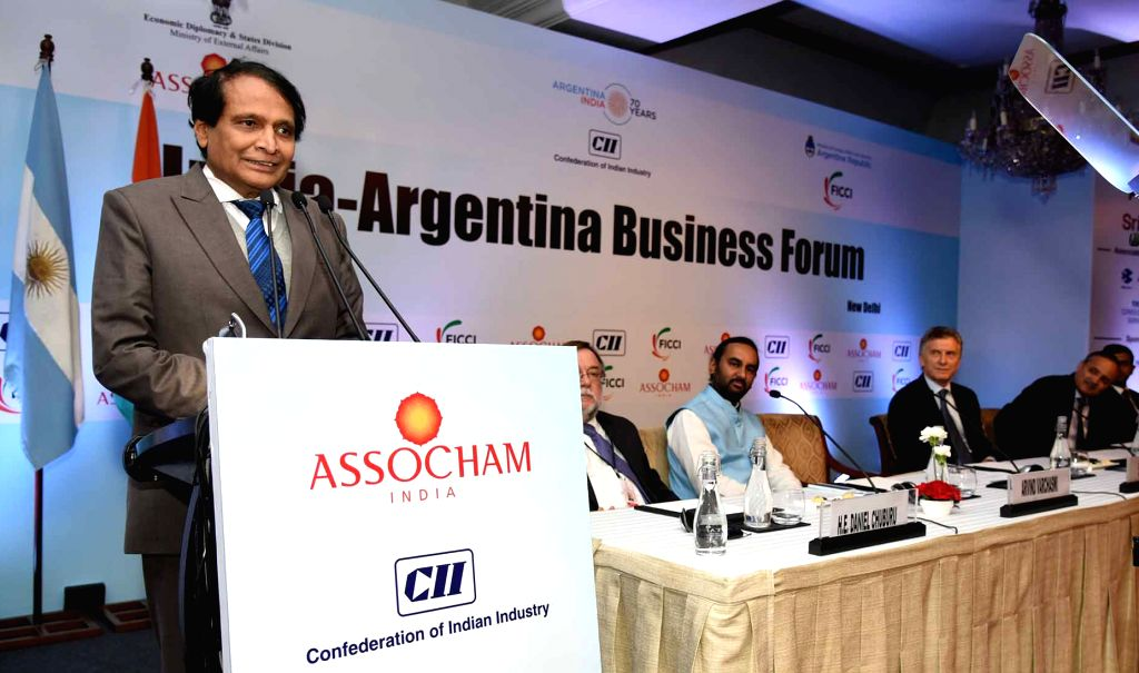 Union Commerce and Industry and Civil Aviation Minister Suresh Prabhu addresses at the India-Argentina Business Forum in New Delhi, on Feb 18, 2019. - Suresh Prabhu