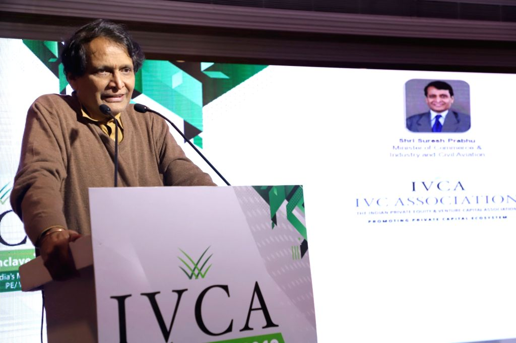 Union Commerce and Industry and Civil Aviation Minister Suresh Prabhu addresses at the IVCA Conclave 2019, in New Delhi, on March 7, 2019. - Suresh Prabhu