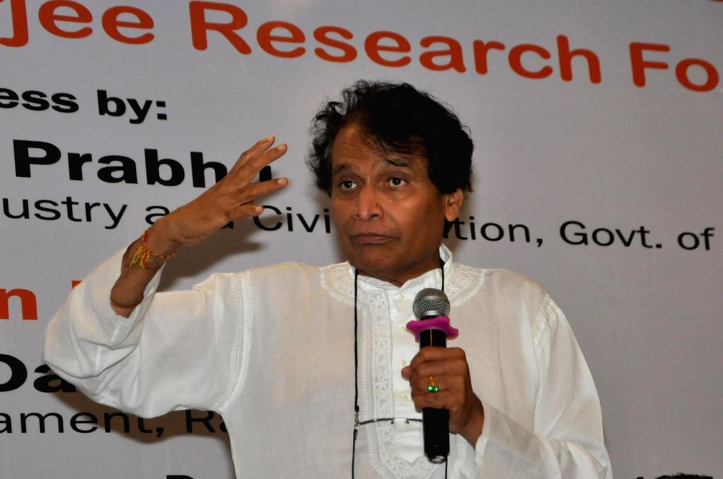 Union Commerce and Industry and Civil Aviation Minister Suresh Prabhu addresses during a panel discussion on 'Perspectives on New India' in Kolkata, on April 27, 2019. - Suresh Prabhu