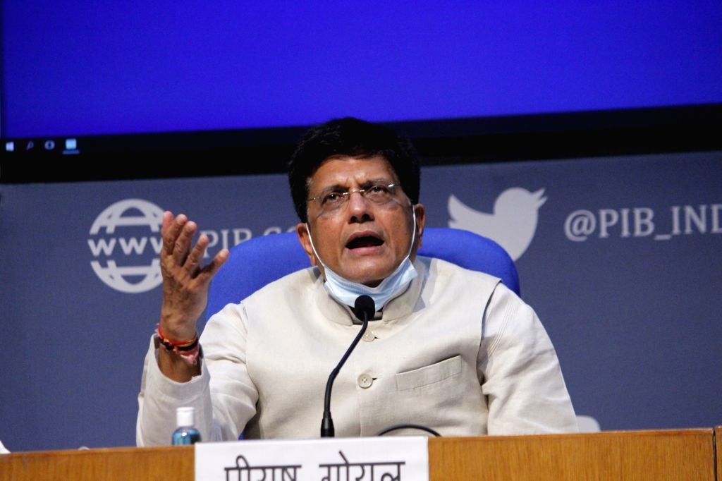Union Commerce and Industry and Railways Minister Piyush Goyal briefs the media on various cabinet decisions, in New Delhi on Oct 7, 2020. - Piyush Goyal