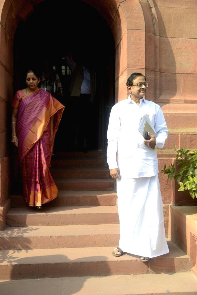 Union Commerce and Industry Minister Nirmala Sitharaman and Congress leader P Chidambaram at the Parliament in New Delhi on Nov. 17, 2016. - Nirmala Sitharaman