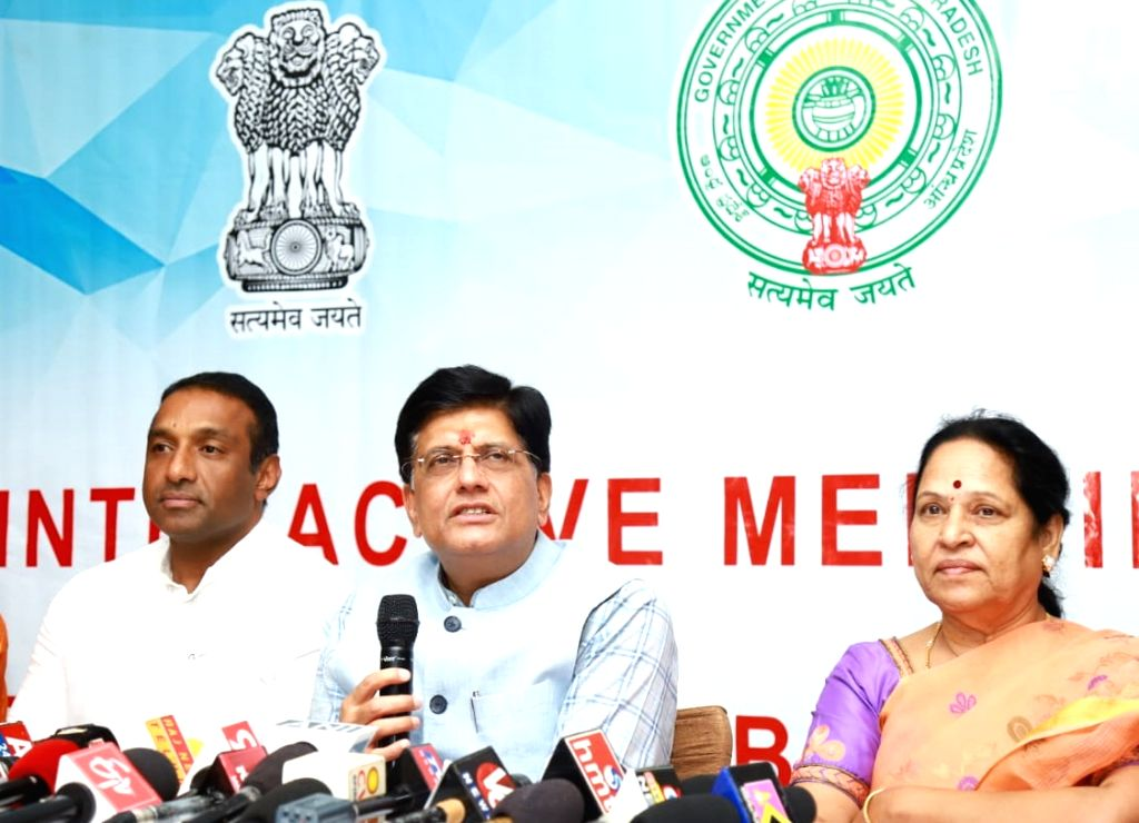 Union Commerce and Industry Minister Piyush Goyal addresses the media after an interactive session on ???Ease of Doing Business??? BRAP-2019 in Tirupati, Andhra Pradesh on June 14, 2019. ... - Piyush Goyal and Mekapati Goutham Reddy