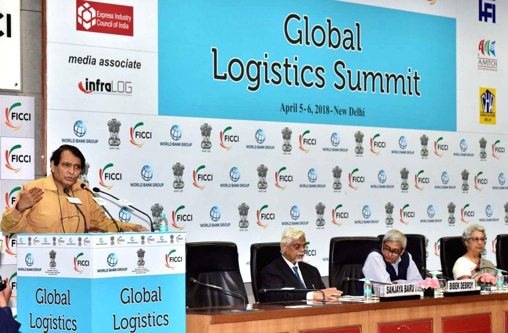 Union Commerce and Industry Minister Suresh Prabhakar Prabhu addresses during the inauguration of Global Logistics Summit, in New Delhi on April 5, 2018. - Suresh Prabhakar Prabhu