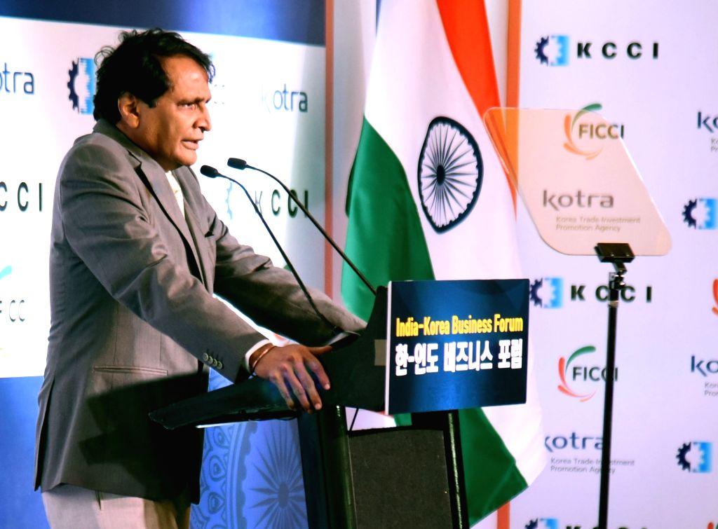 Union Commerce and Industry Minister Suresh Prabhakar Prabhu addresses at the India – Korea Business Forum, in New Delhi on July 9, 2018. - Suresh Prabhakar Prabhu