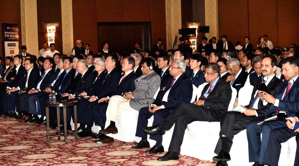 Union Commerce and Industry Minister Suresh Prabhakar Prabhu with South Korean President Moon Jae-in at the India – Korea Business Forum, in New Delhi on July 9, 2018. - Suresh Prabhakar Prabhu