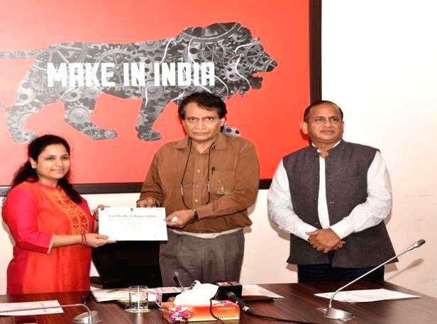 Union Commerce and Industry Minister Suresh Prabhakar Prabhu launches the logo and tagline for the Geographical Indications (GI) of India, in New Delhi on Aug 1, 2018. - Suresh Prabhakar Prabhu