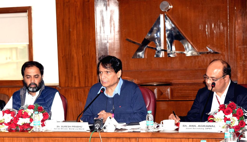Union Commerce and Industry Minister Suresh Prabhu addresses at the release of the report on cement industry prepared by National Council for Cement and Building Materials (NCCBM) in New ... - Suresh Prabhu