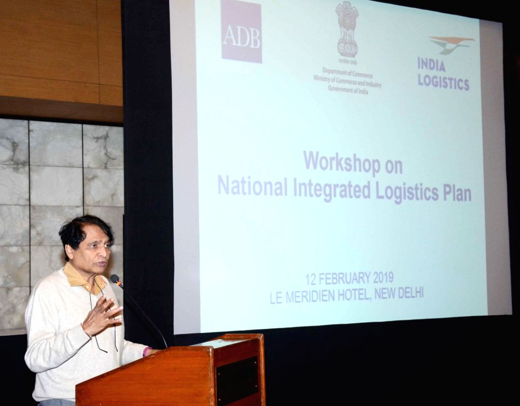Union Commerce and Industry Minister Suresh Prabhu addresses at the inaugural session of a workshop on National Integrated Logistics Plan, in New Delhi on Feb 12, 2019. - Suresh Prabhu