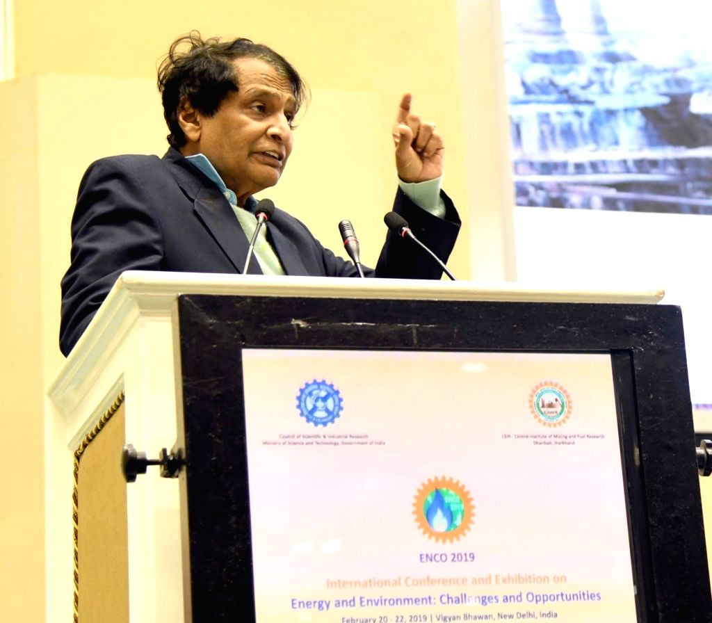 Union Commerce and Industry Minister Suresh Prabhu addresses at the international conference and exhibition on Energy and Environment: Challenges and Opportunities (ENCO-2019), in New ... - Suresh Prabhu