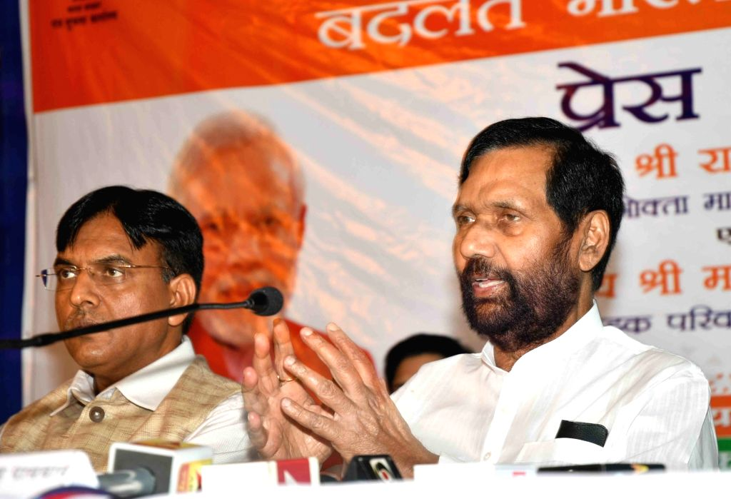 Union Consumer Affairs, Food and Public Distribution Minister Ram Vilas Paswan addresses a press conference, in Patna on May 29, 2018. - Ram Vilas Paswan