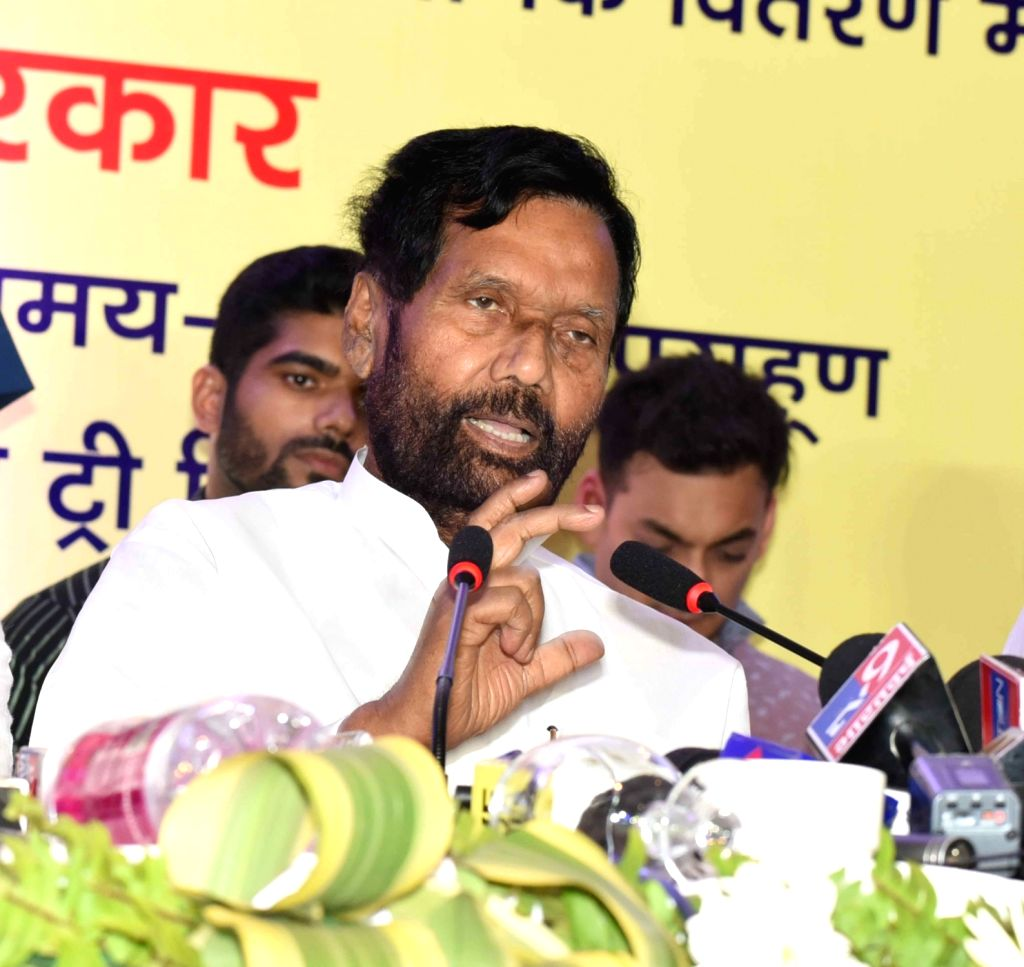 Union Consumer Affairs, Food and Public Distribution Minister Ram Vilas Paswan addresses a press conference, in Patna, on June 2, 2019. - Ram Vilas Paswan