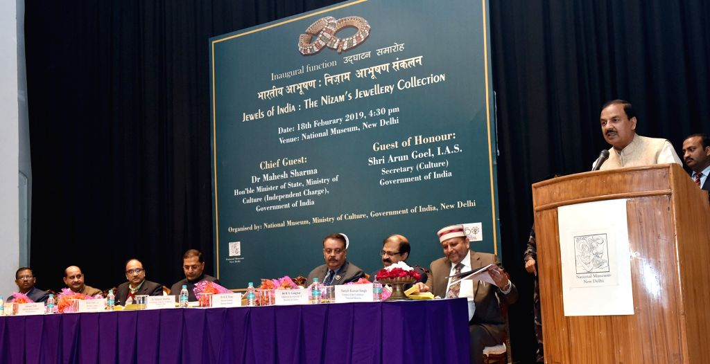 """Union Culture Minister Dr. Mahesh Sharma addresses at the inauguration of the """"Jewels of India: The Nizam's Jewellery Collection"""" exhibition, in New Delhi on Feb 18, 2019. - D and Mahesh Sharma"""