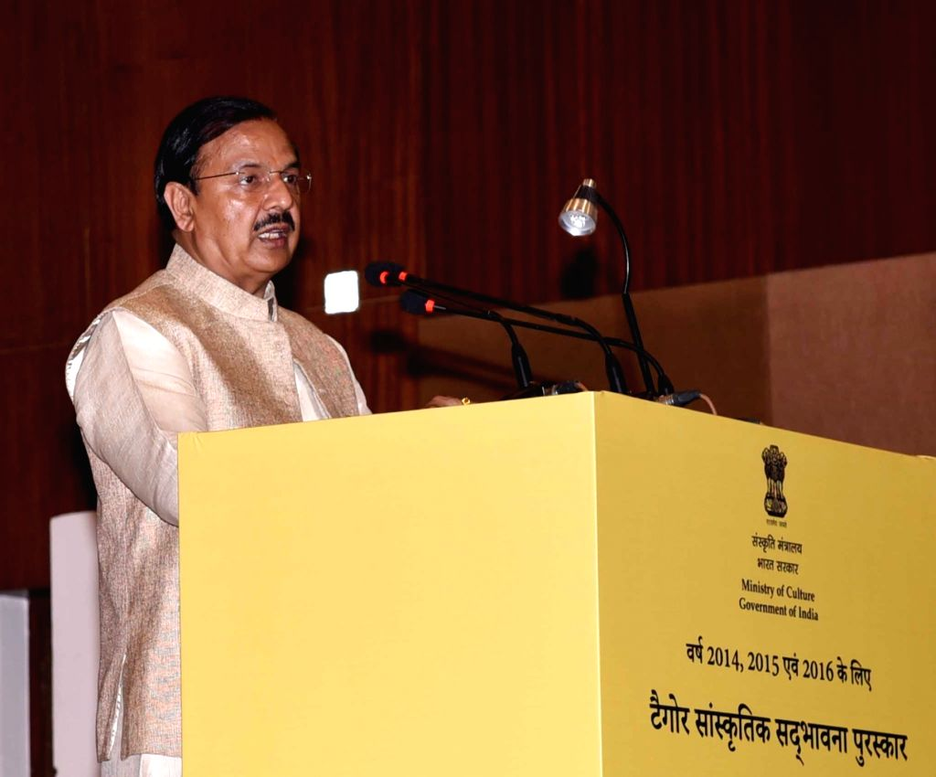 Union Culture Minister Mahesh Sharma addresses at the Tagore Award for Cultural Harmony for the years 2014, 2015 and 2016; in New Delhi, on Feb 18, 2019. - Mahesh Sharma